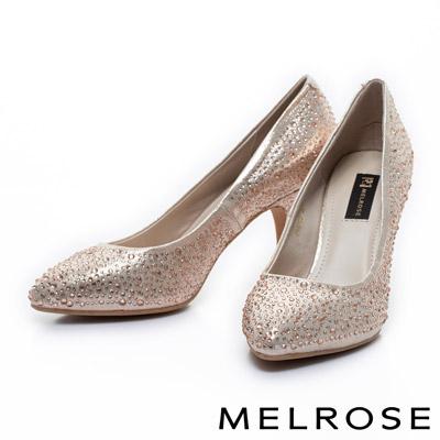 MELROSE-質感閃耀水鑽尖頭高跟鞋-金