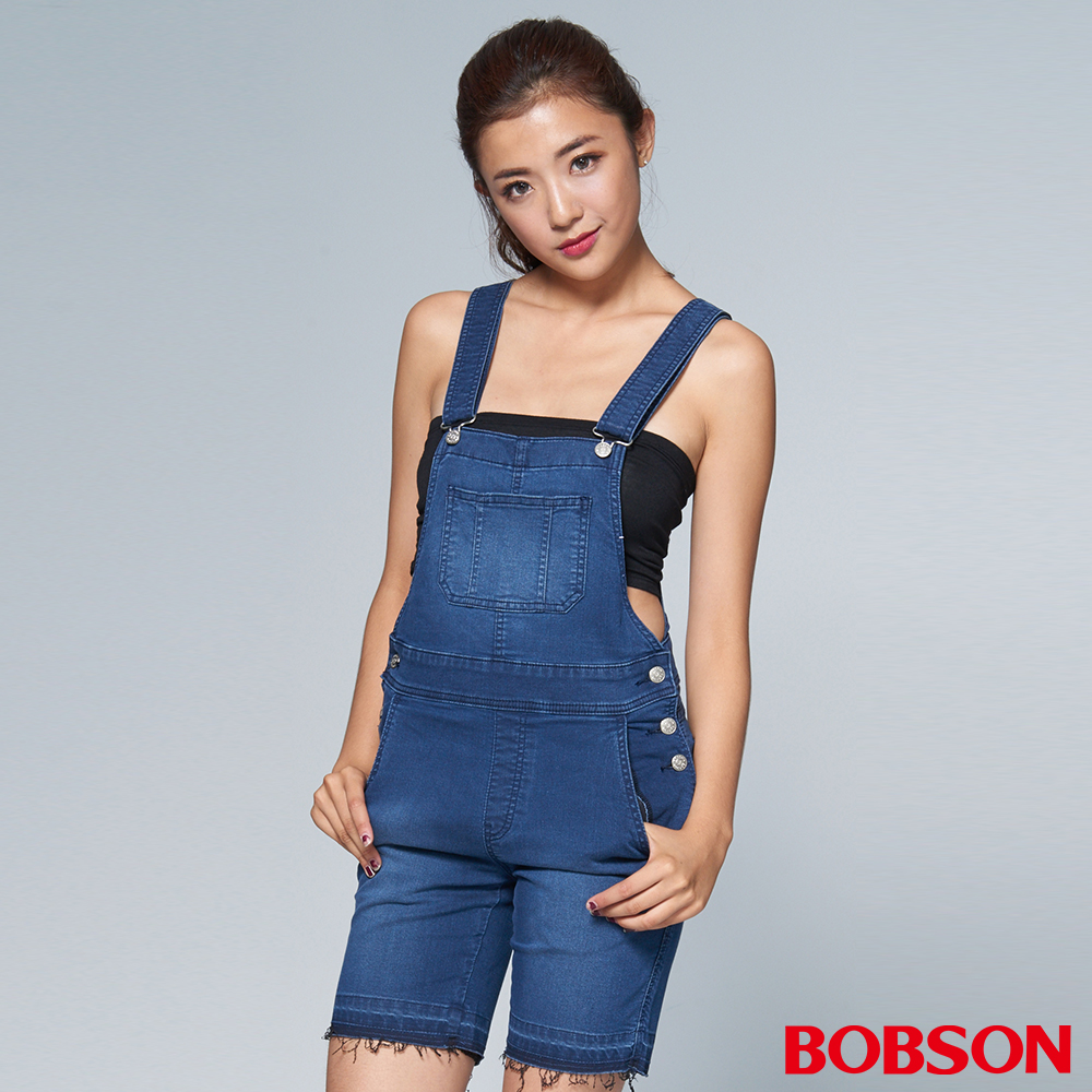 """BOBSON 女款1971""""日本黑標""""深藍吊帶短褲"""