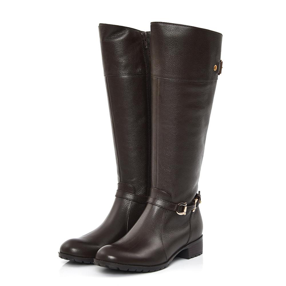 TAS 金屬繫踝雙扣環牛皮長靴-質感咖