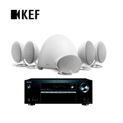 英國 KEF E305 5.1衛星喇叭家庭劇院白色組 + TX-SR373 影音擴大機
