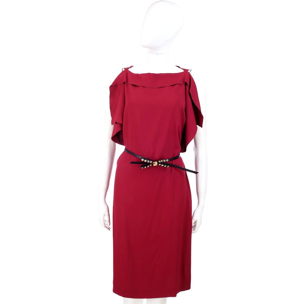 PHILOSOPHY 紫紅色不規則荷葉袖剪裁設計洋裝(不含腰帶)