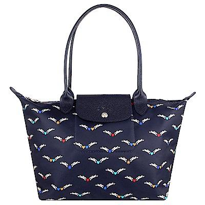 Longchamp 雙馬飛翔圖騰尼龍布長背帶水餃包(海軍藍/小)
