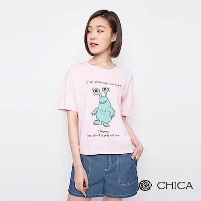 CHICA 讀心大眼怪俏皮圖騰上衣(3色)