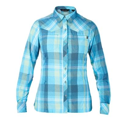 【Berghaus 貝豪斯】女款銀離子抗UV長袖襯衫S05F01-藍/綠