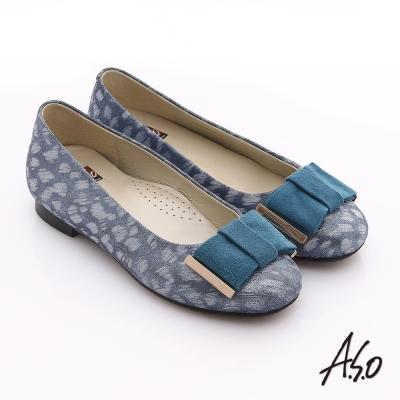 A.S.O 粉領之戀 真皮絨面豹紋低跟鞋 藍