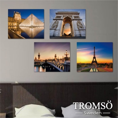 TROMSO時尚無框畫-夜色巴黎 (4件1幅)