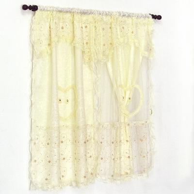 布安於室-熊熊蕾絲刺繡雙層穿管式窗簾