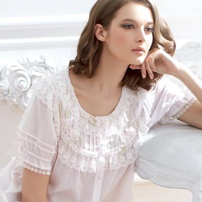 羅絲美睡衣 - 花漾戀曲短袖褲裝睡衣 (迷人白)