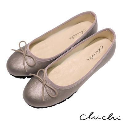 Chichi 舒適首選 素面百搭蝴蝶結娃娃鞋*古銅色