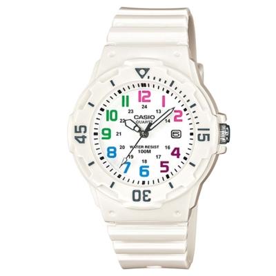 CASIO潛水風運動休閒腕錶:LRW-200H-7B-白x彩色時標34mm