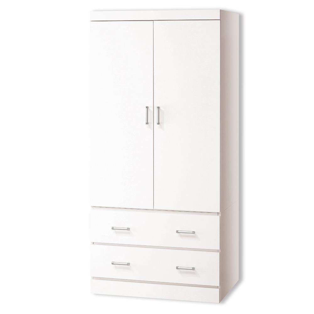 Bernice-艾琳2.7尺白色雙門二抽衣櫃-81x60x178cm