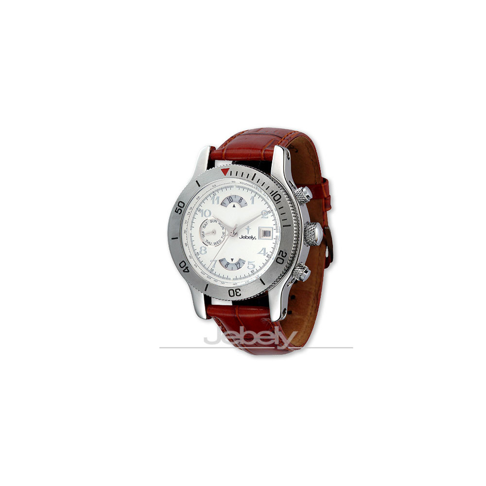 Jebely瑞士機械錶-神秘黑森林系列-三眼造型機械錶-白/41mm