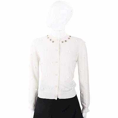 BLUGIRL-FOLIES 金屬花細節白色毛球開襟美麗諾羊毛衫