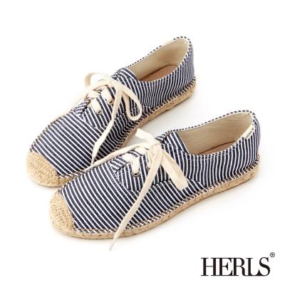 HERLS-夏日清新帆布綁帶麻編鞋-藍條紋