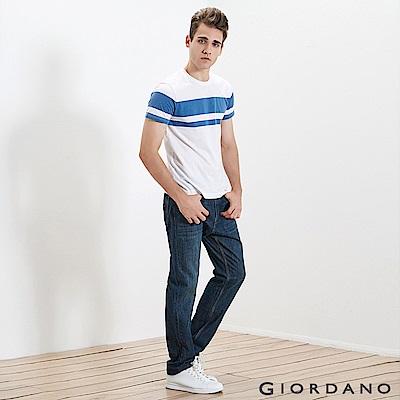 GIORDANO 男裝精工貓須水洗棉質窄管牛仔褲 - 62 深靛藍色