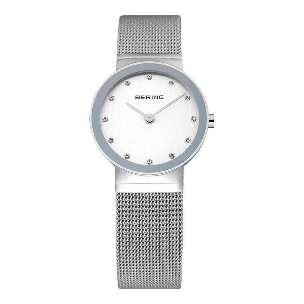 BERING 晶鑽米蘭帶系列 藍寶石鏡面 銀色 小錶面 26mm