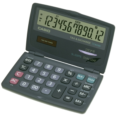 CASIO 卡西歐 12位數口袋摺疊輕巧型計算機SL-220TE