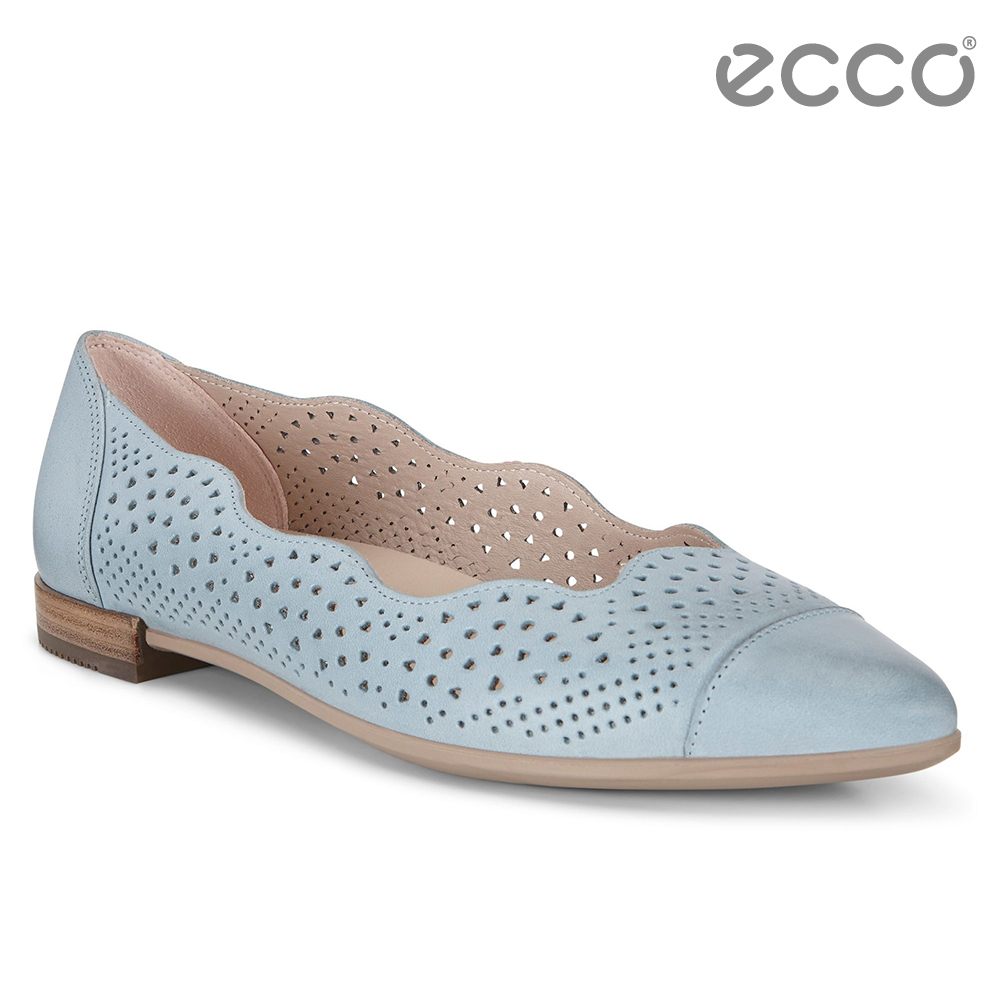 ECCO SHAPE 女 雕花蕾絲氣質娃娃鞋-藍