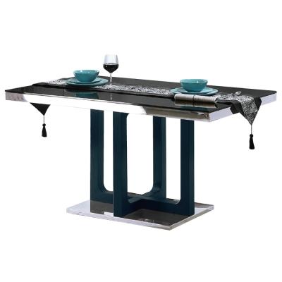 品家居 珍妮4.7尺黑玻長方餐桌-140x80x76cm-免組