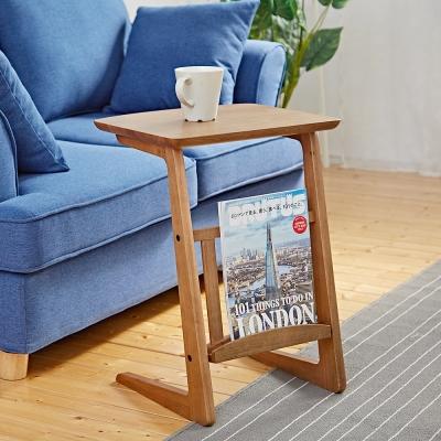 Bed Maker-爵士風情 ㄈ型實木邊桌/茶几40x34x54cm