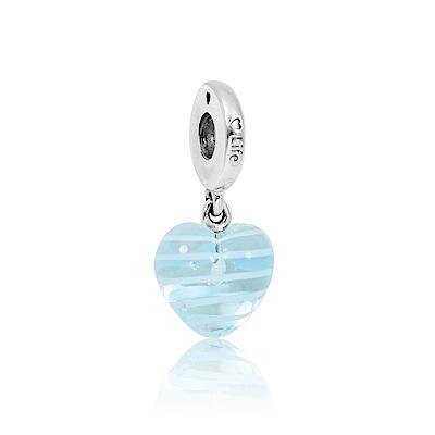 Pandora 潘朵拉 垂墜藍色橫條紋玻璃愛心 純銀墜飾 串珠