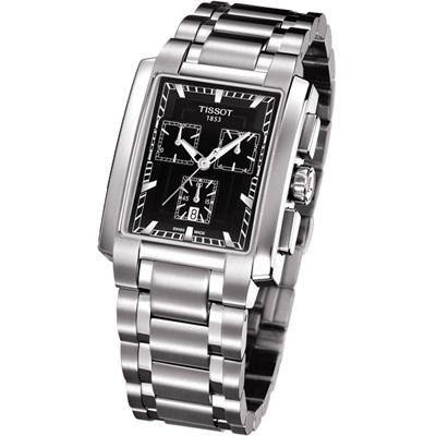 TISSOT TXL 雅士都會計時腕錶-黑/33x38mm