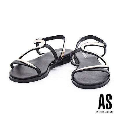 涼鞋 AS 盛夏奢華金屬S字異材質拼接低跟涼鞋-黑