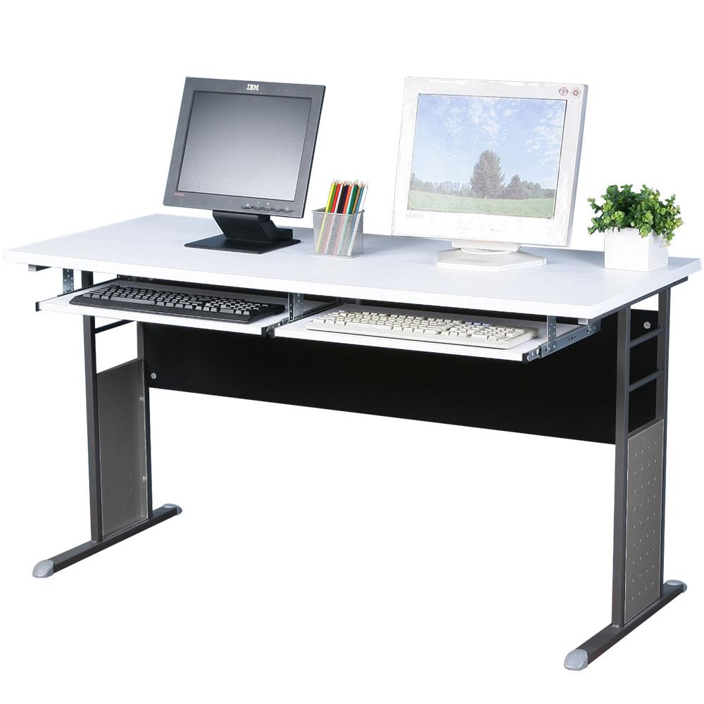 Homelike 巧思辦公桌 炫灰系列-白色加厚桌面140cm(附二鍵盤架)