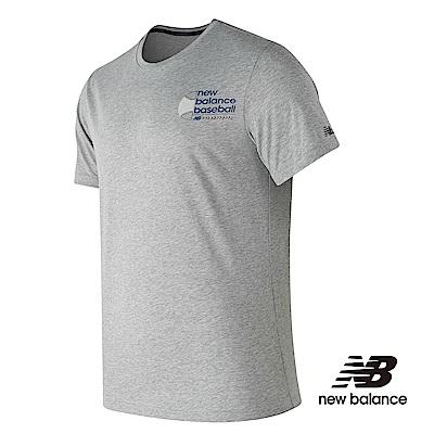 New Balance 花紗短袖上衣 男性 棒球款 灰色 MT81702AG