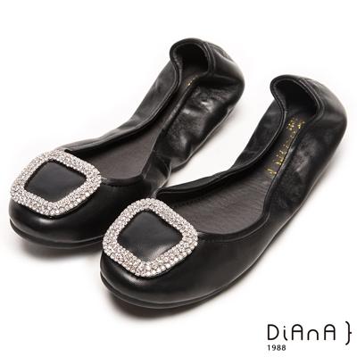 DIANA 心機折學--簡約x甜漾換釦真皮軟Q口袋鞋-黑