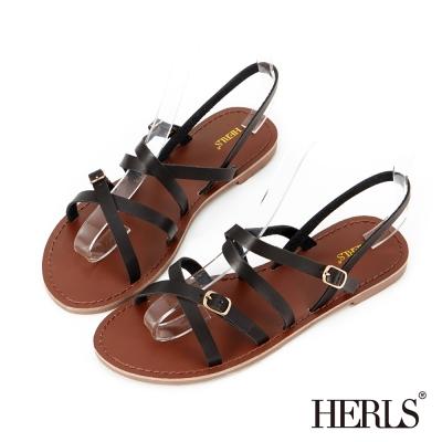 HERLS-夏日純色-日雜女孩細帶涼鞋-黑色