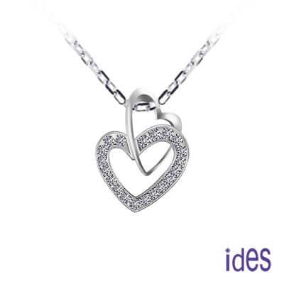 ides愛蒂思 心心相印系列鑽石項鍊/雙愛心