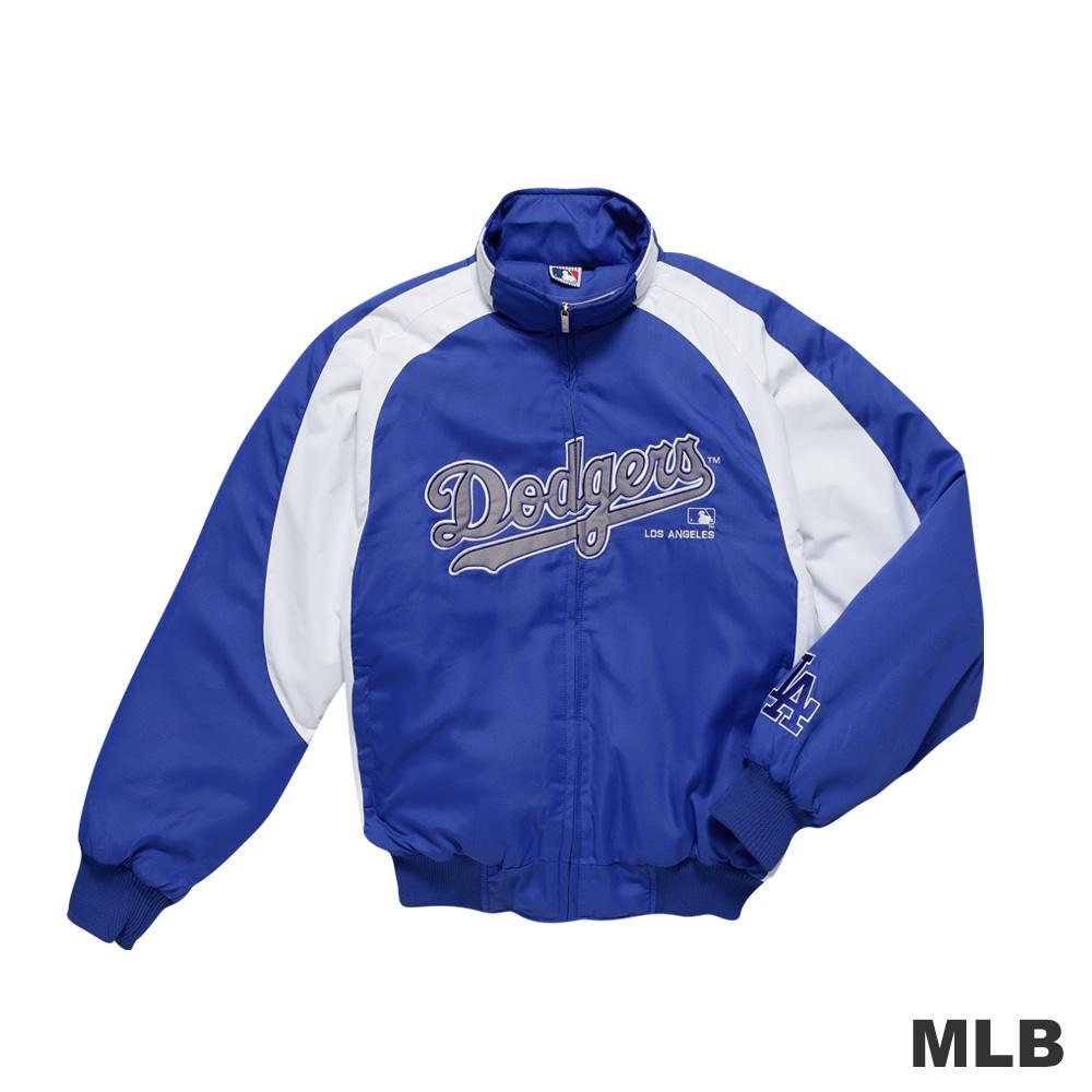 MLB-洛杉磯道奇隊撞色立領內刷毛棒球外套-藍色男