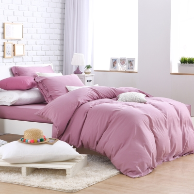HOYACASA氧氣森活 雙人四件式森麻被套床包組-優雅紫