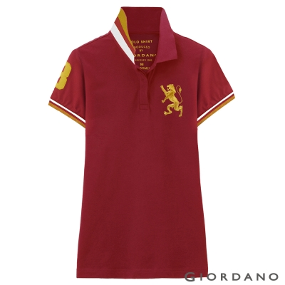 GIORDANO-女裝獅王3D刺繡彈性POLO衫-10-標誌紅