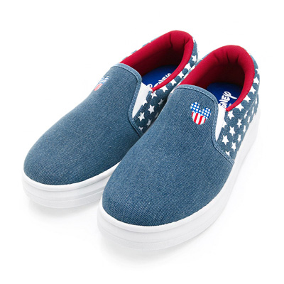DISNEY 搖滾美式 米奇帆布休閒便鞋-藍