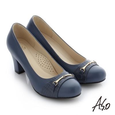 A.S.O 減壓美型 真皮飾釦奈米窩心粗跟鞋 深藍色