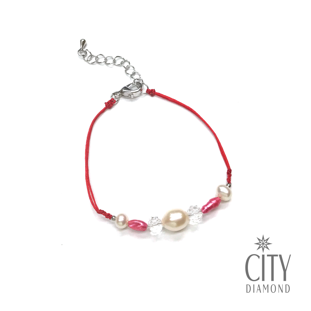 City Diamond引雅 【手作設計系列 】天然珍珠水晶紅線手鍊
