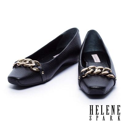 平底鞋 HELENE SPARK 金屬風鎖鍊配飾牛皮方頭平底鞋-黑