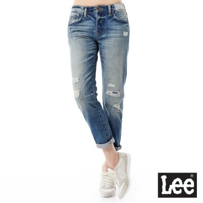 Lee 牛仔褲 401中腰標準合身小直筒牛仔褲/101+-女款-藍
