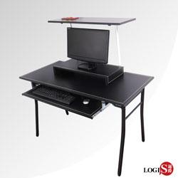 邏爵家具 極簡風馬鞍皮層架式電腦桌/工作桌