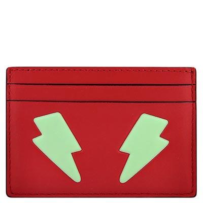 COACH 紅色皮革壓紋證件名片夾