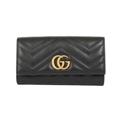 GUCCI GG Marmont 斜紋復古金屬釦式長夾(黑色)