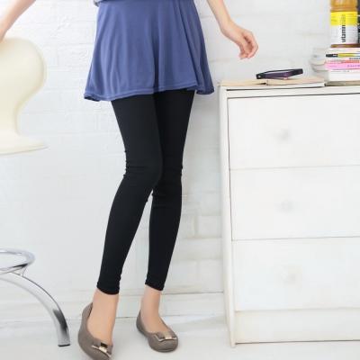 La Belleza荷葉波浪裙擺層次假兩件棉質內搭褲(藍裙黑褲)