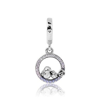 Pandora 潘朵拉 圓形鏤空漸層鋯石親子鳥 垂墜純銀墜飾 串珠
