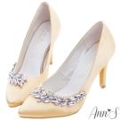Ann'S迷人焦點-高雅質感緞面羽翼水鑽尖頭跟鞋-杏