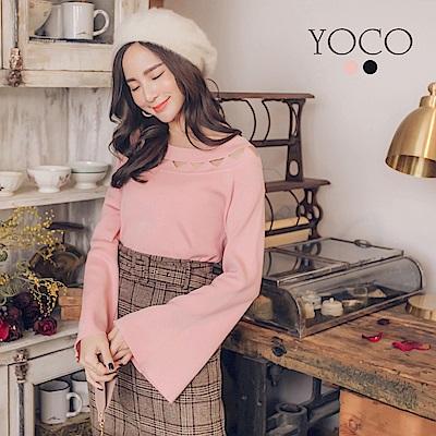 東京著衣-yoco 氣質美人領挖洞設計寬袖針織上衣-S.M.L(共二色)
