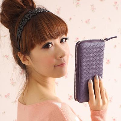 Yasmine進口羊皮手工編織拉鍊長夾(紫)