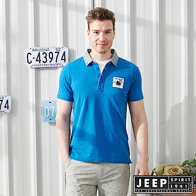 JEEP修身撞色短袖POLO衫-天藍