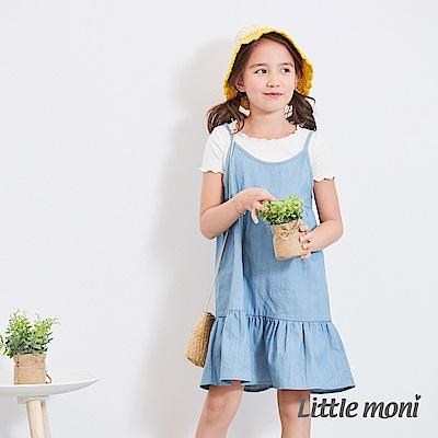 Little moni 荷葉裙襬丹寧牛仔洋裝 牛仔藍